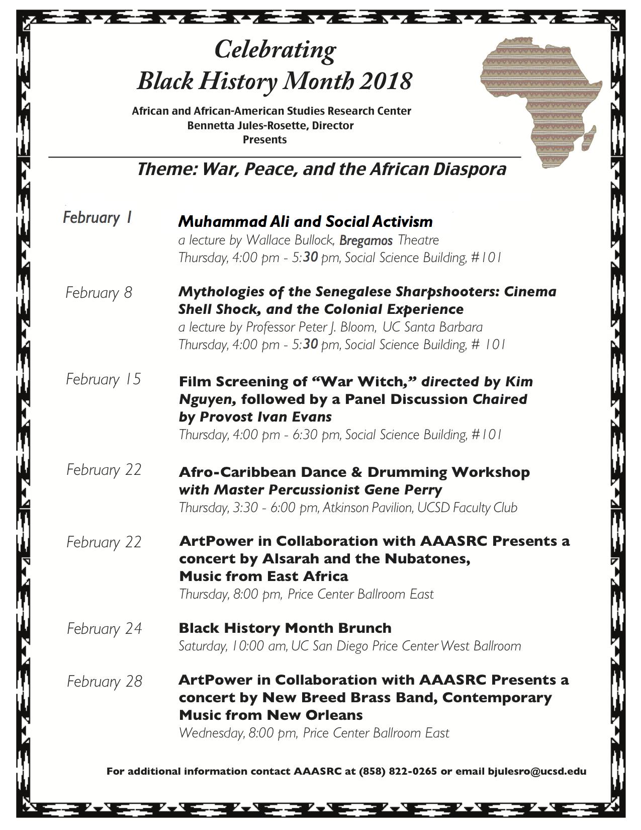 Black History Month Calendar, 2018 | aaasrc.ucsd.edu